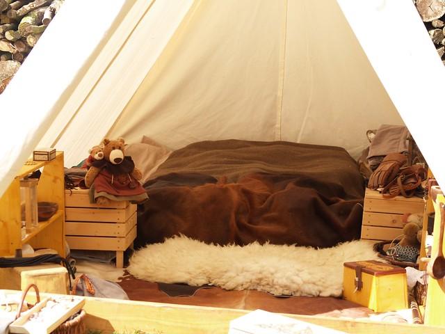 view in a viking tent  comfortable  Sylvain du Bois