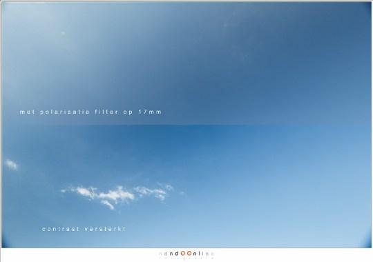 Een foto van de lucht met een ultragroothoek: 17mm op een full frame.  De band is waar het licht gepolariseerd wordt, en het lichte deel niet. (Lee Landscape Polariser)