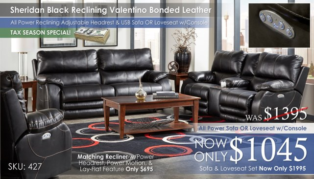 Sheridan Black Reclining Valentino Bonded Leather Collection 427_TAX