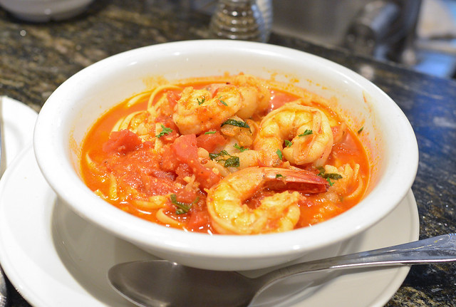 SHRIMP & LOBSTER FRA DIABLO Sautéed Shrimp and Lobster in a spicy Tomato sauce served over linguine