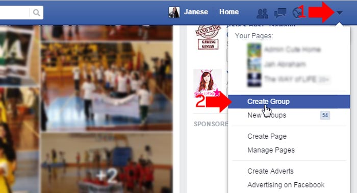 How to create Facebook group step 1