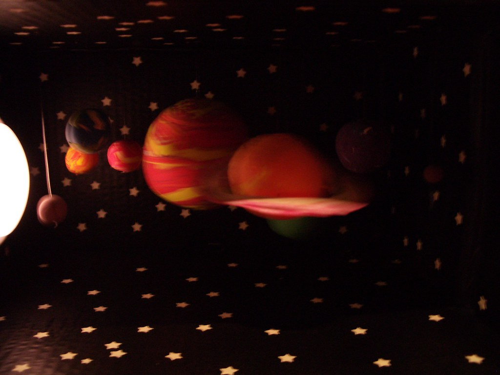 Solar System Diorama step 6  Hanging the Planets  Mike