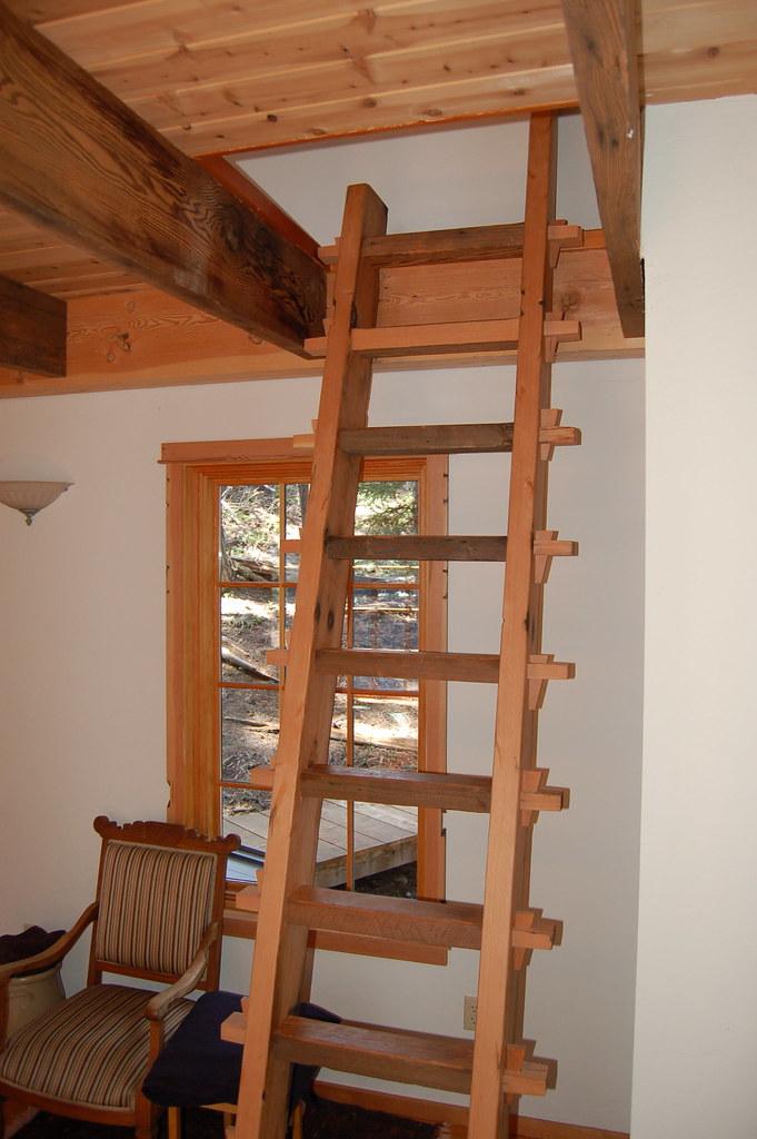 Reclaimed wood ladder in the Sleeping Cabin  Reclaimed