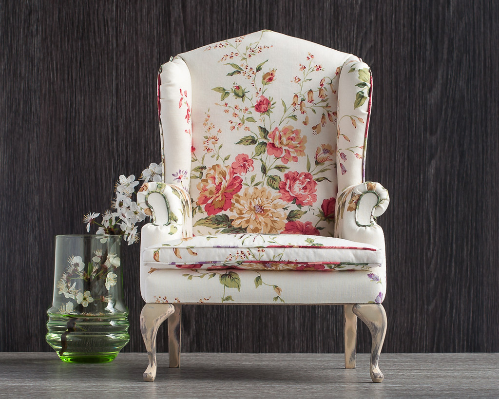 floral upholstered chair design sketch 1 4 scale doll wingback with upholstery flickr by furniture in
