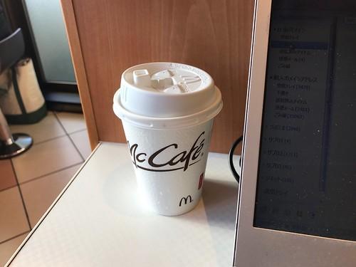 マクドナルドでいつも頼んでるホットコーヒーSサイズが無料。コーヒーだけでも 可。