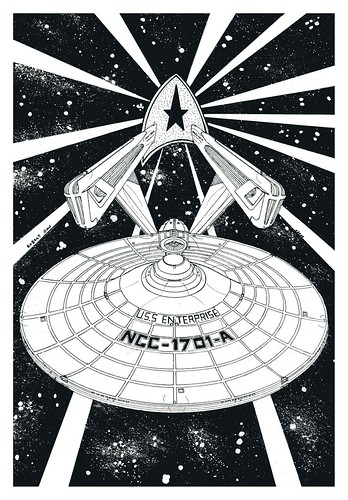 DRAWINGS PEN INK STAR TREK quotSTARSHIP USS ENTERPRISE
