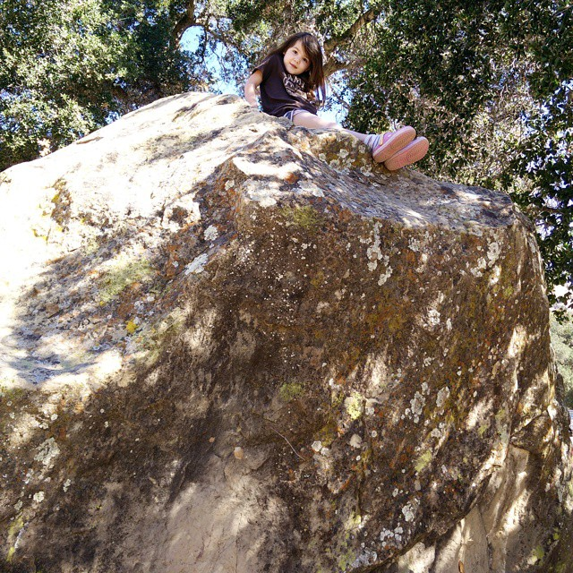 One of Blythe's favorite camping activities is boulder climbing. She found this beast of a rock in our campsite!