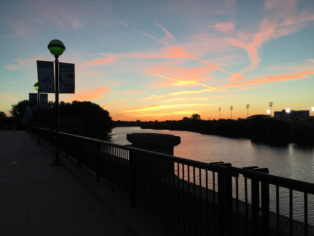 Indianapolis sunset from the National Road bridge