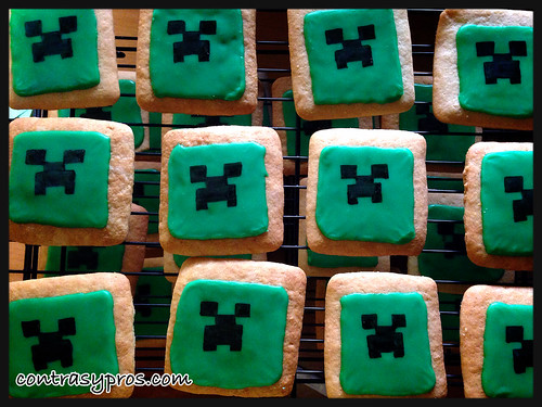 como hacer galletas Minecraft de creeper, paso a paso, video tutorial