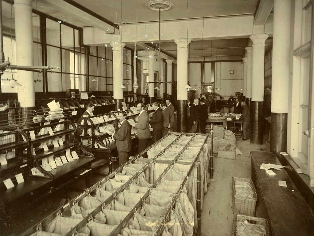 General Post Office mail sorting room Wellington c1900s