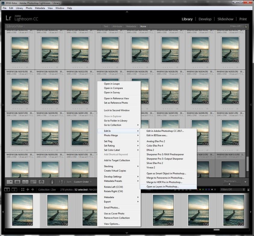 Selecteer in Lightroom alle foto's die samengevoegd moeten worden. Kies dan de optie om al deze foto's als Layers in Photoshop te open. Let erop dat dit proces lang kan duren, zeker als er heel erg veel opnamen zijn.