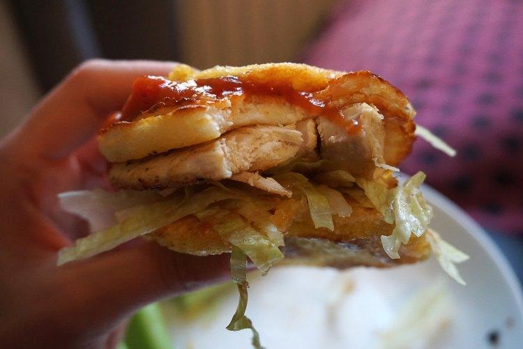 Halloumi and chicken arepa burger - gluten free arepas - www.kimieatsglutenfree.com