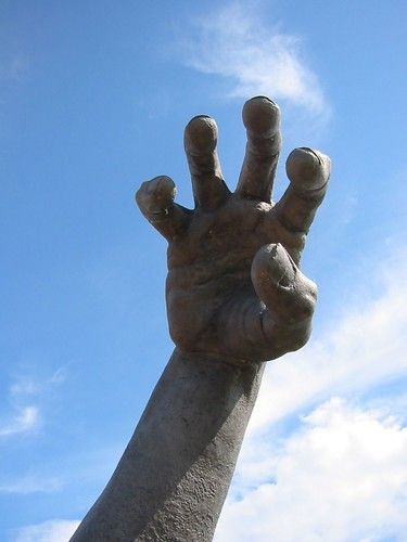 The Awakenings giant hand  The sculpture was at the