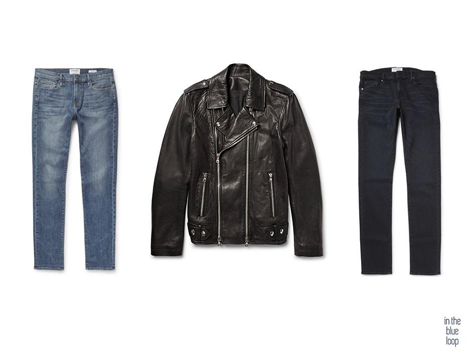 Para un look casual para hombre con chaqueta de cuero elegir pantalones vaqueros rectos o pitillos o skinny masculinos