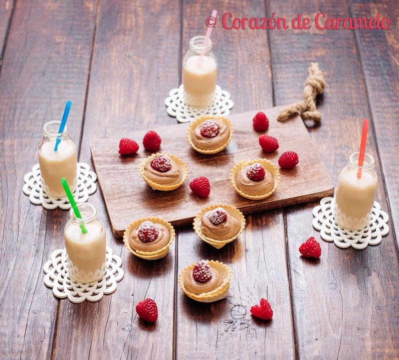 Tartaletas de crema pastelera de chocolate y fambuesas