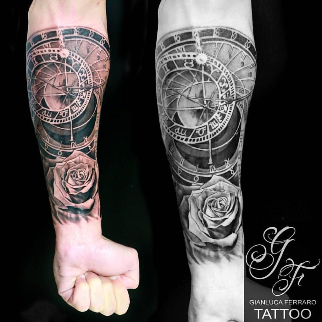 Astronomical clock with rose Gianluca Ferraro Tattoo Ar