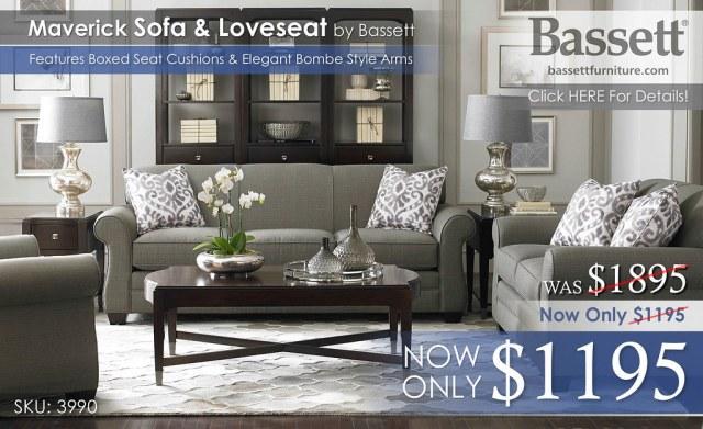 Maverick Sofa Collection Graphite Bassett 3990 Reg