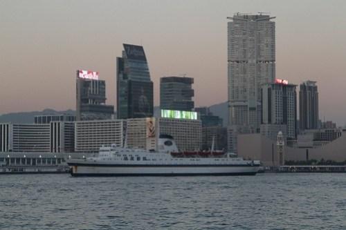 Casino ship 'Jimei' steams slowly west through Victoria Harbour