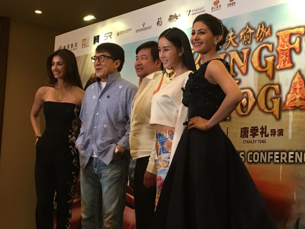 From left: Disha Patani, Jackie Chan, Stanley Tong, Mu Qimiya, and Amyra Dastur at the Kung Fu Yoga press conference last Friday.