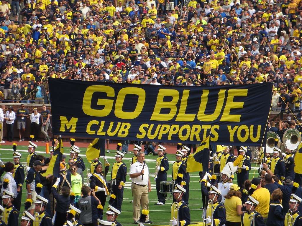 Go Blue M Club Supports You Banner Michigan Stadium Uni  Flickr