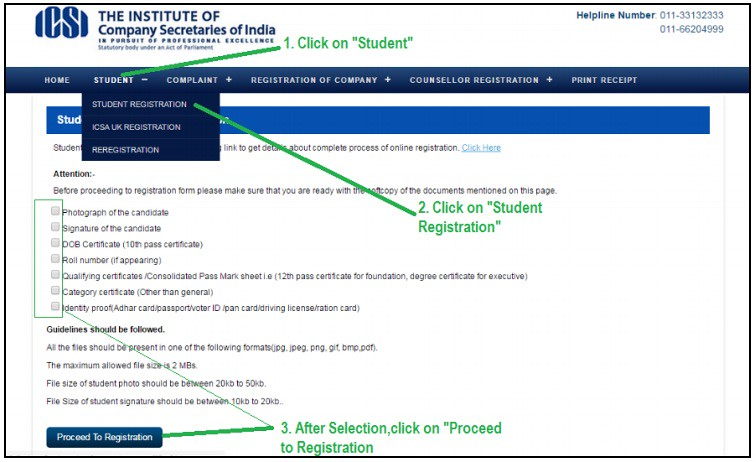 CS Foundation Online registration Procedure