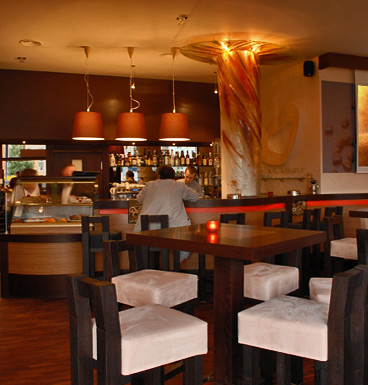 Coco Mokka Cafe Interior Fused Glass Column Decoration