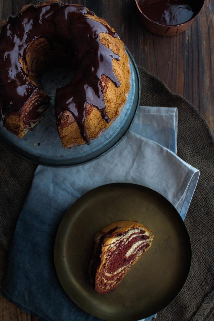 Gâteau marbré sans lait