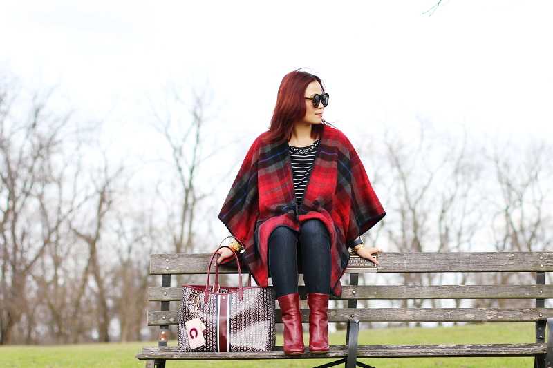 burgundy bag, shoes, poncho, Valentines Look