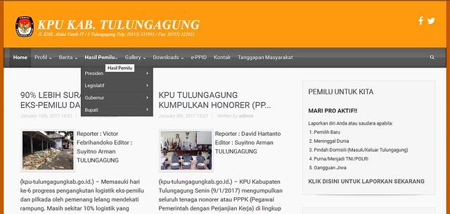 Menu Hasil Pemilu yang terdapat di website KPU Tulungagung