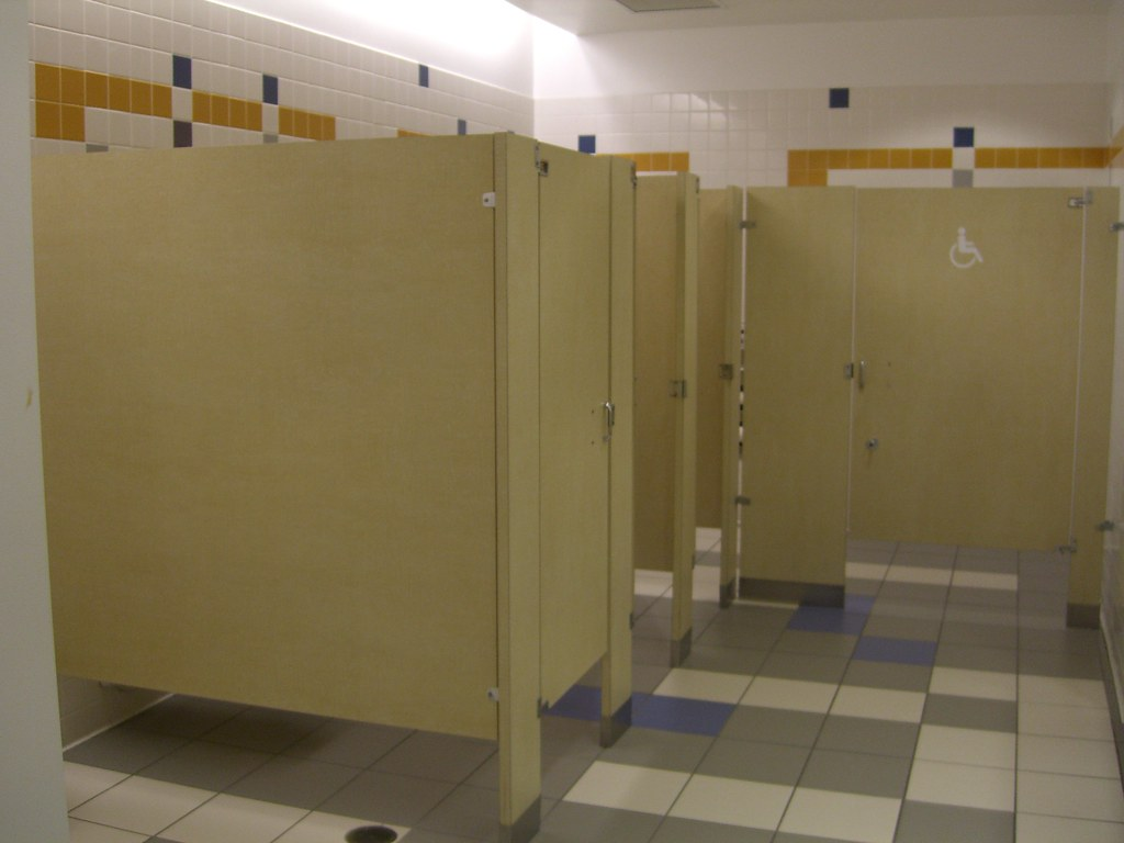 No privacy toilet stalls  These stalls are too short and