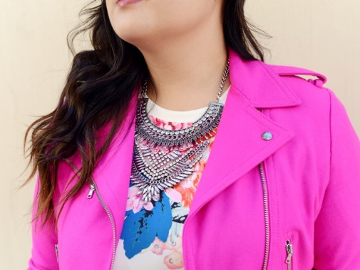 Curvy Girl Chic SLINK Jeans Hot Pink Moto and Statement Necklace