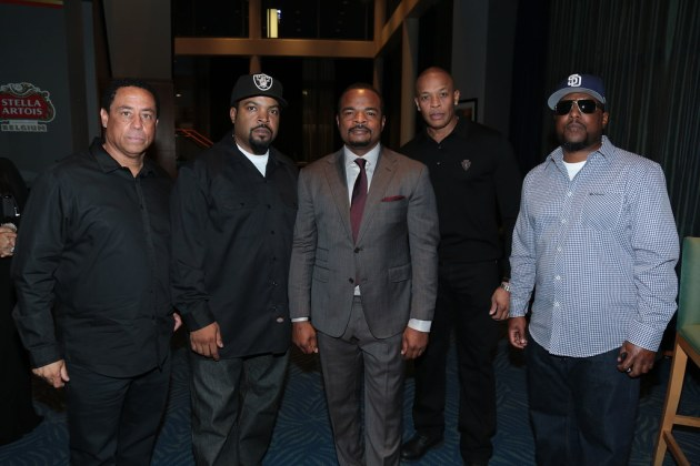 DJ Yella, Ice Cube, F. Gary Gray, Dr. Dre, and MC Ren attend as Universal presents the