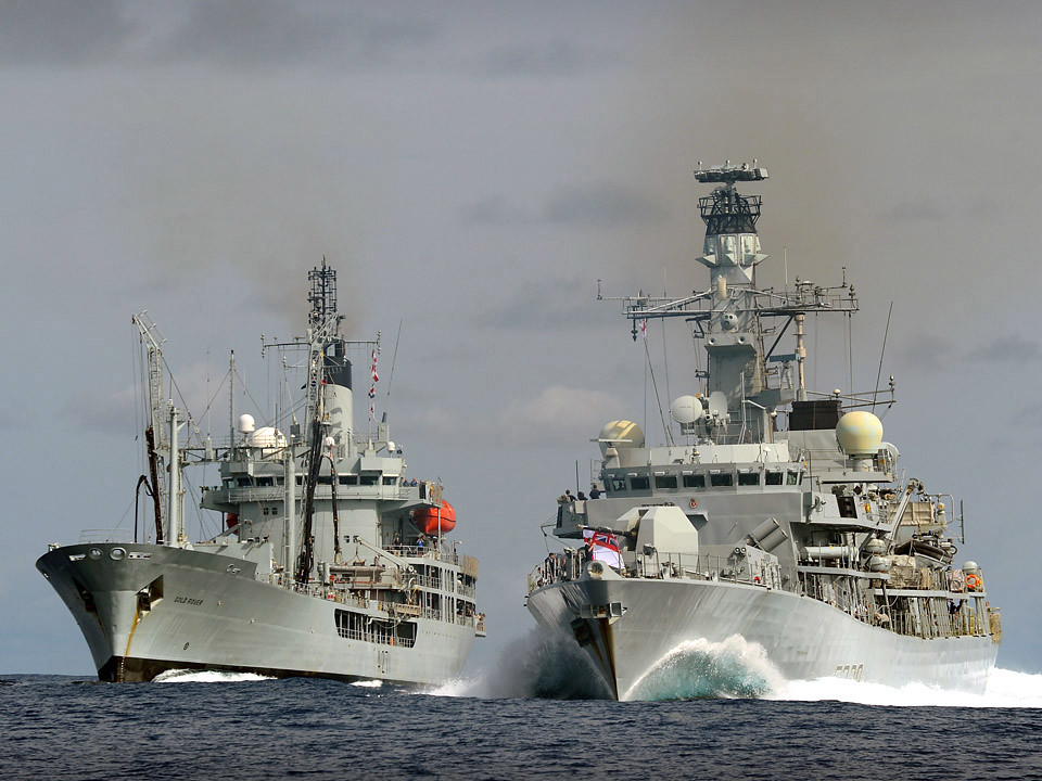 HMS Lancaster after her Replenishment At Sea RAS with RF