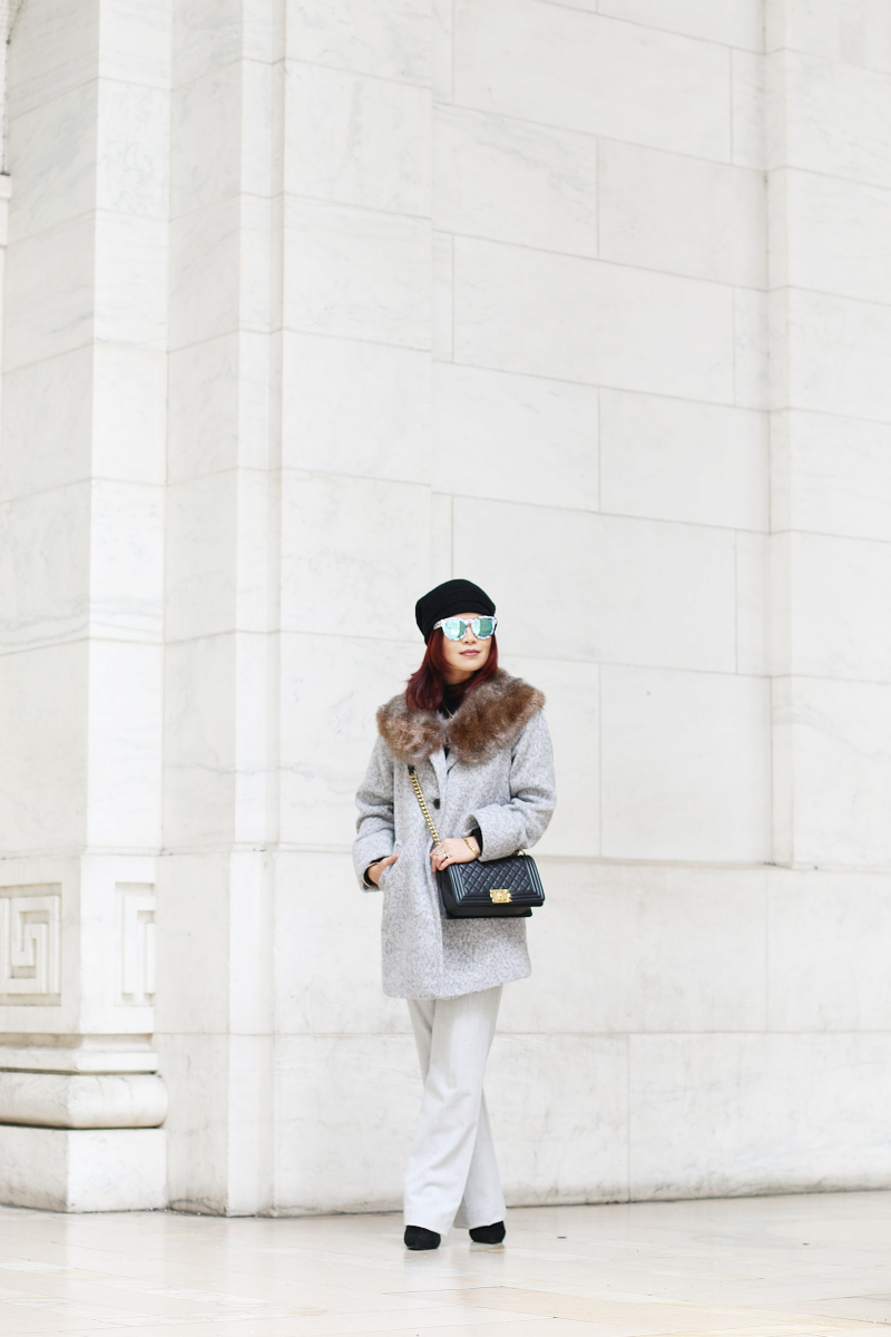 gray-coat-faux-fur-stole-jumpsuit-beanie-8