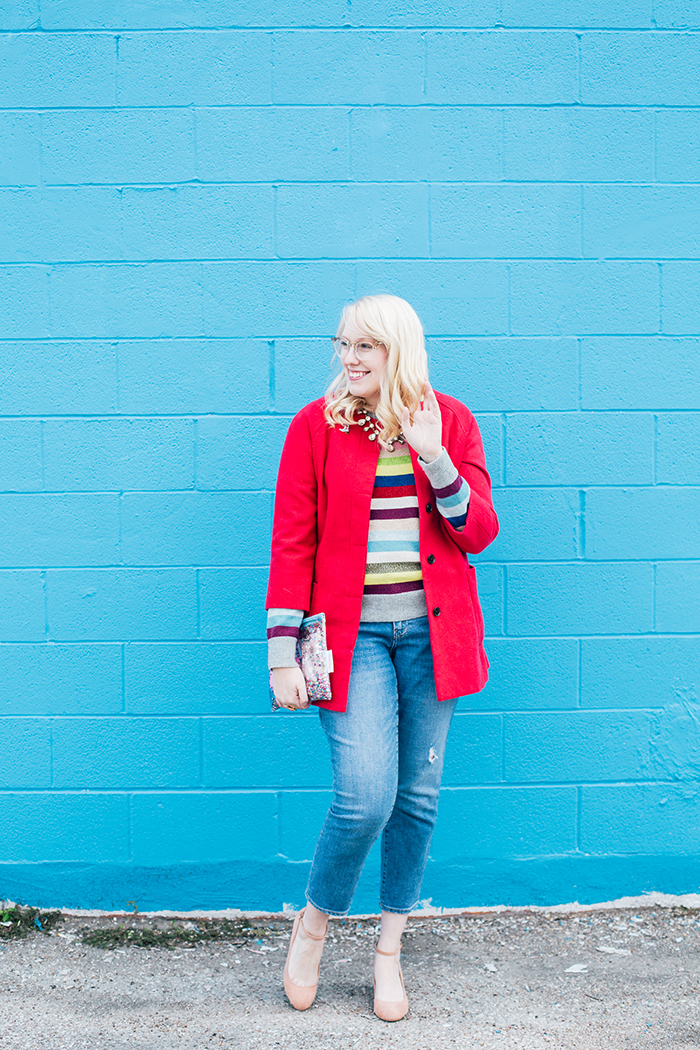 writes like a girl pink coat rainbow gap sweater4
