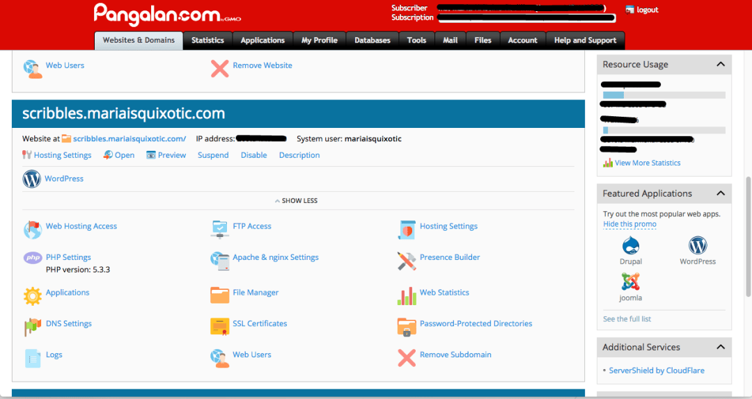Showing the subdomain in the cPanel