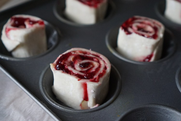 Gluten free cherry bakewell pastry rolls making process