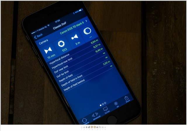 Apps op een smartphone rekenen de scherptediepte voor je uit, maar geven vaak ook de hyperfocale afstand weer. In dit geval betreft het de App PhotoPills