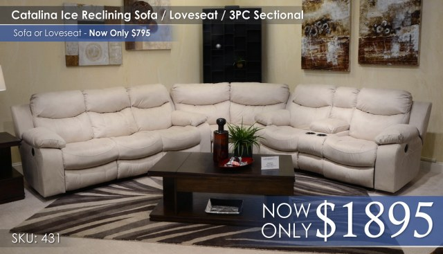 Catalina Ice Reclining Sofa Love Sectional 431