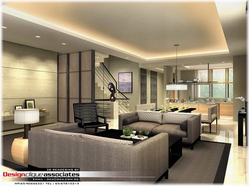 Private Living Room Rendering  Designer  Hirsch Bedner
