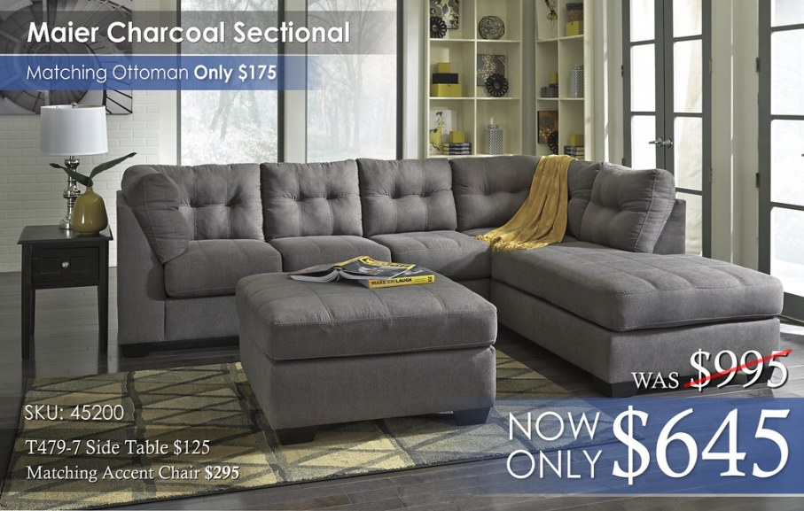 Maier Charcoal Sectional Solo 45200