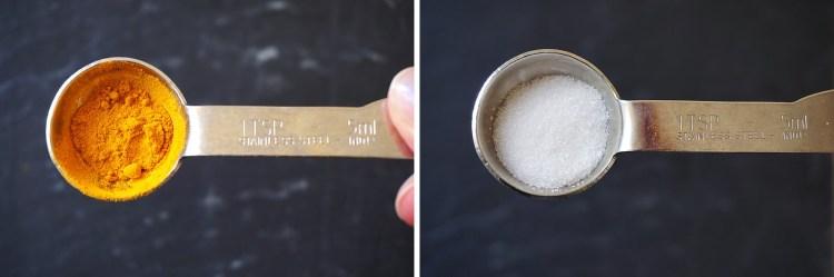 Gluten free arepas making process - teaspoons of turmeric and sugar