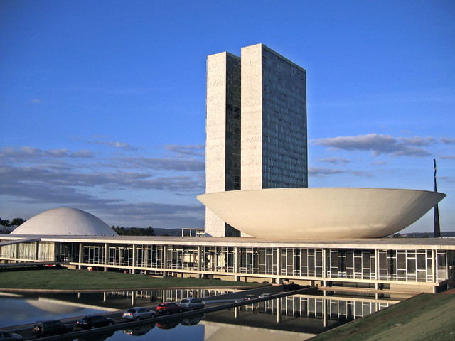 The National Congress of Brazil  The Senate is the dome
