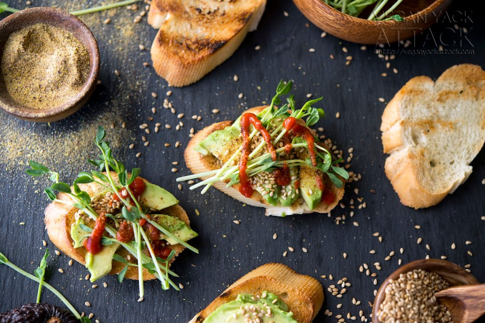 Smoky Sesame Avocado Crostini - a simple appetizer that is packed with pops of flavor! Vegan, Soy-free