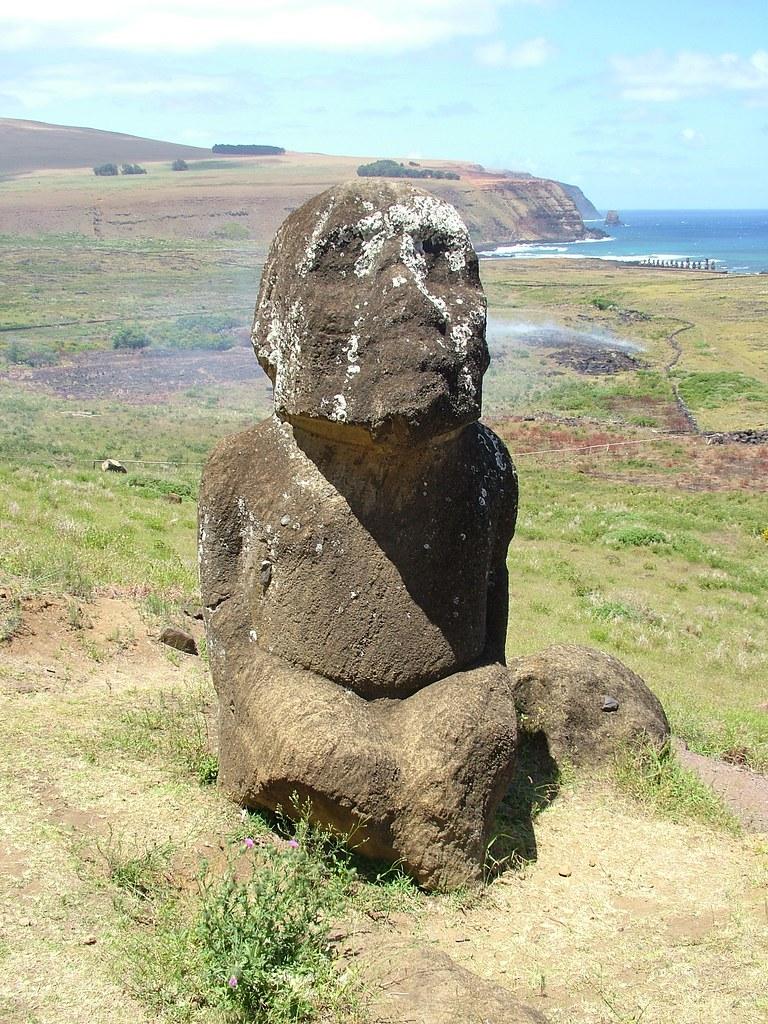 Easter Island  Kneeling Moai Tukuturi  Kneeling to his
