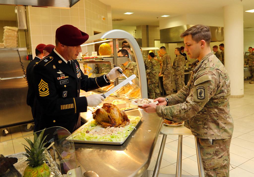 Thanksgiving meal at Del Din Dining Facility  Senior