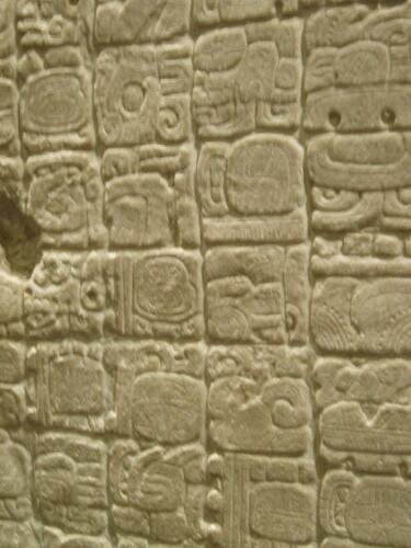 closeup of Aztec glyphs writing system  Marisa Green
