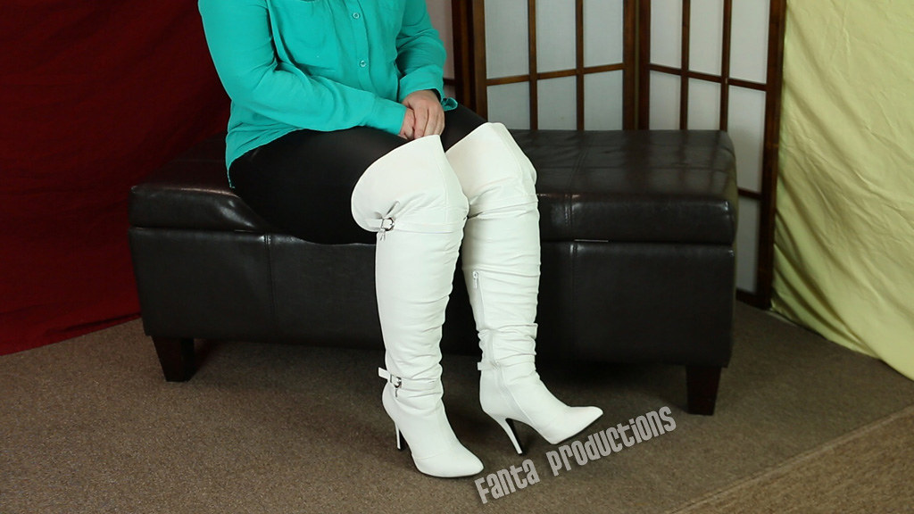 Scarlet in Leather Leggings  White OTK Boots  Fanta