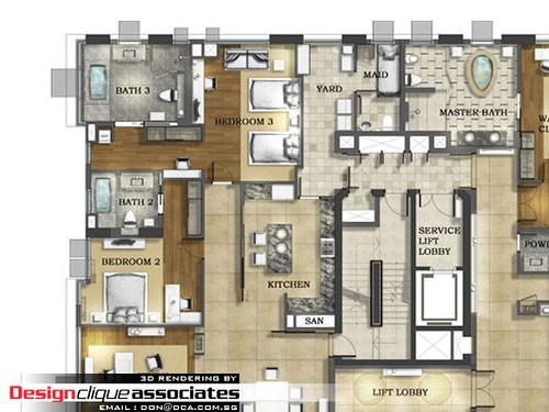 2D Layout Plan Rendering Designer Hirsch Bedner
