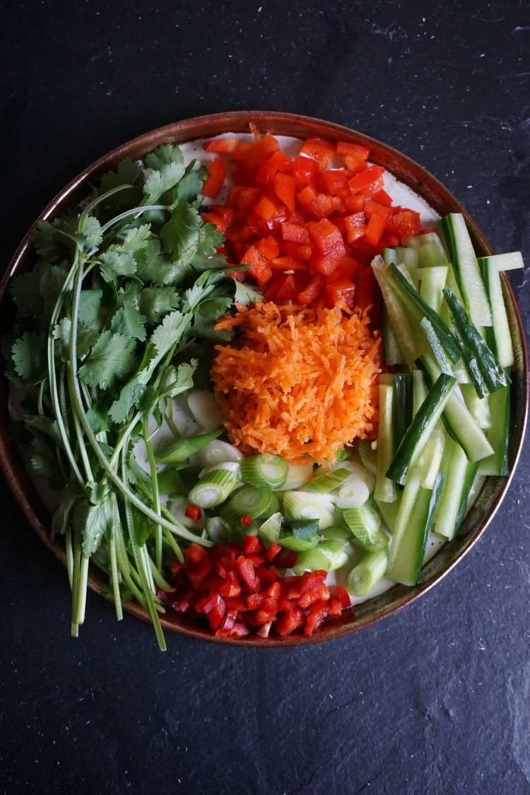 Toppings for gluten free Chinese crispy duck lettuce wraps - coriander, bell pepper, cucumber, chilli, spring onions and grated carrots